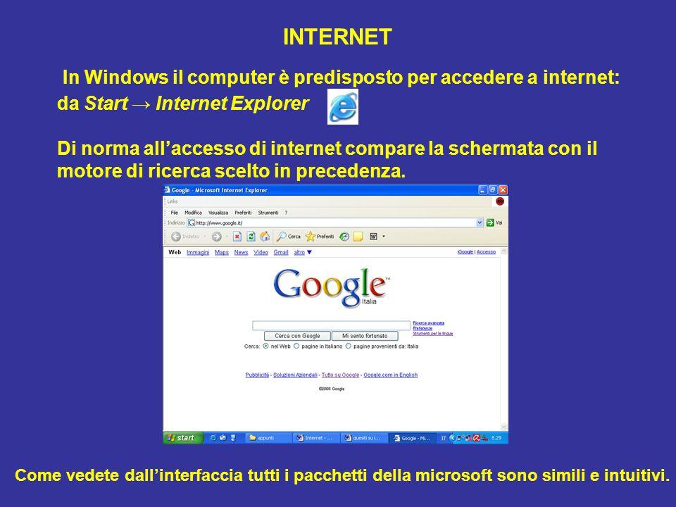 INTERNET In Windows il computer è predisposto per accedere a internet: da Start Internet Explorer Di norma allaccesso di internet compare la schermata con il motore di ricerca scelto in precedenza.