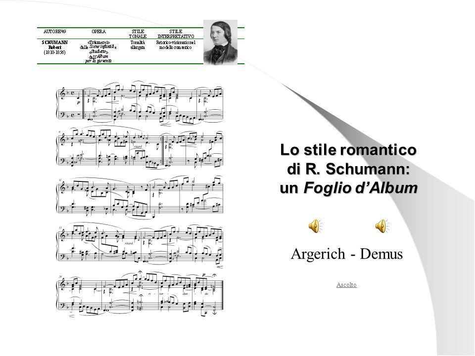 Ascolto Lo stile romantico di R. Schumann: un Foglio dAlbum Argerich - Demus