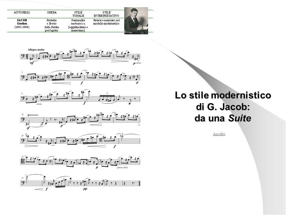 Ascolto Lo stile modernistico di G. Jacob: da una Suite