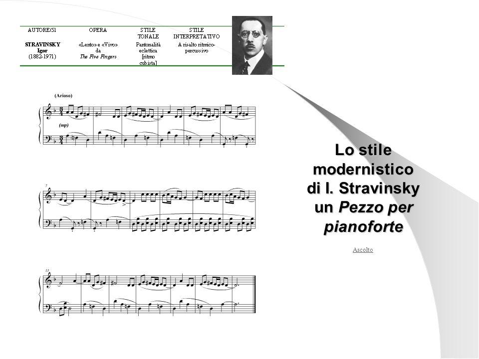 Ascolto Lo stile modernistico di I. Stravinsky un Pezzo per pianoforte