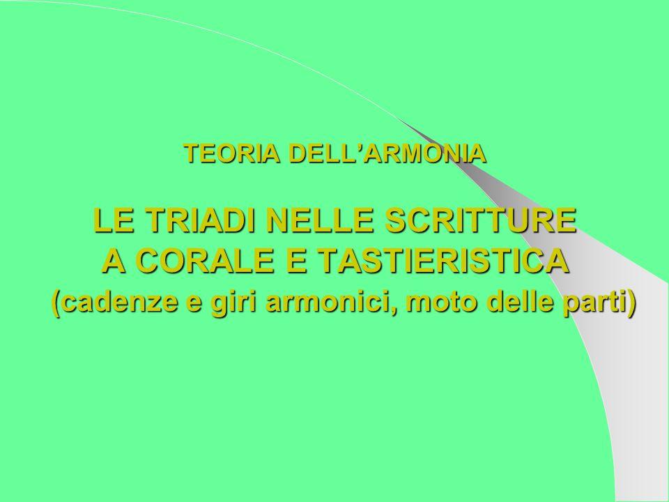 TEORIA DELLARMONIA LE TRIADI NELLE SCRITTURE A CORALE E TASTIERISTICA (cadenze e giri armonici, moto delle parti)