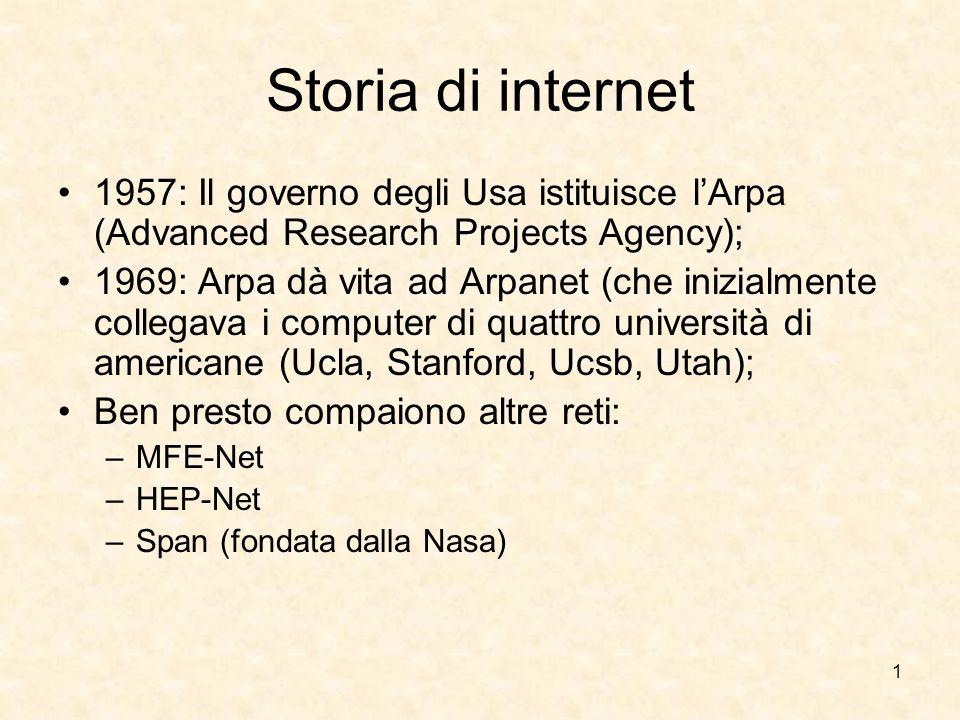 1 Storia di internet 1957: Il governo degli Usa istituisce lArpa (Advanced Research Projects Agency); 1969: Arpa dà vita ad Arpanet (che inizialmente