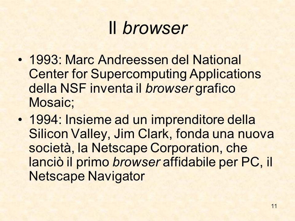 11 Il browser 1993: Marc Andreessen del National Center for Supercomputing Applications della NSF inventa il browser grafico Mosaic; 1994: Insieme ad