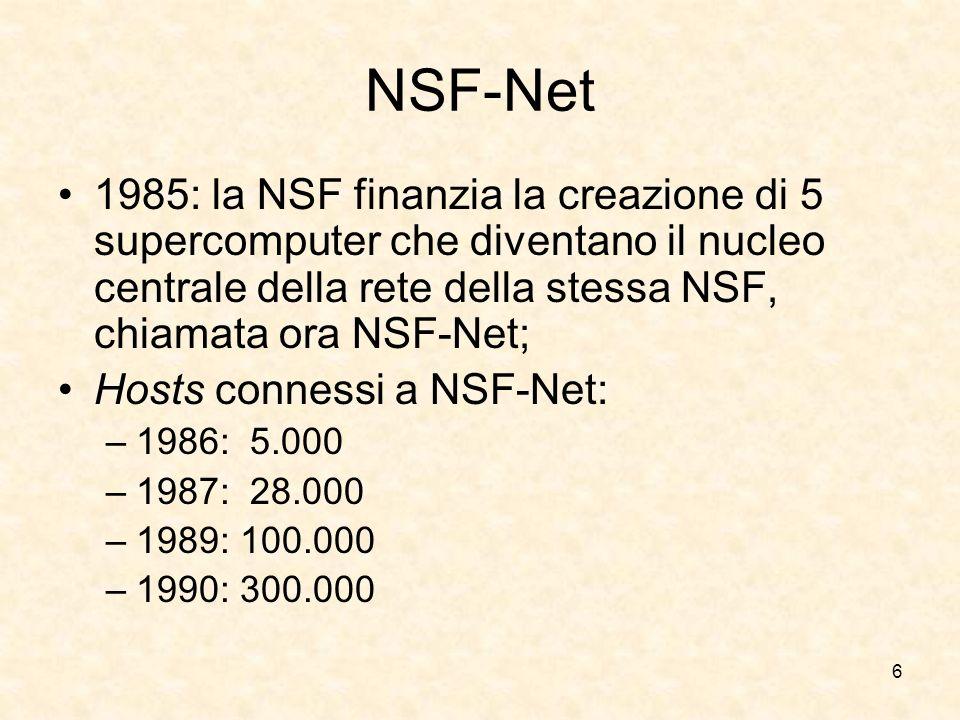 6 NSF-Net 1985: la NSF finanzia la creazione di 5 supercomputer che diventano il nucleo centrale della rete della stessa NSF, chiamata ora NSF-Net; Ho