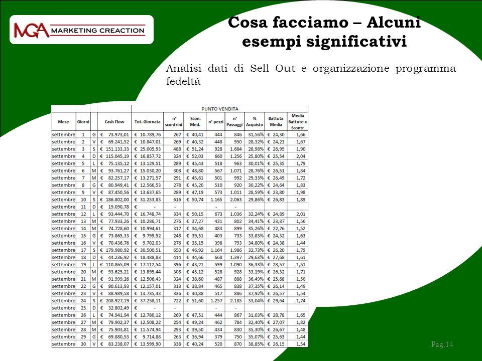 Cosa facciamo – Alcuni esempi significativi Pag.14 Analisi dati di Sell Out e organizzazione programma fedeltà