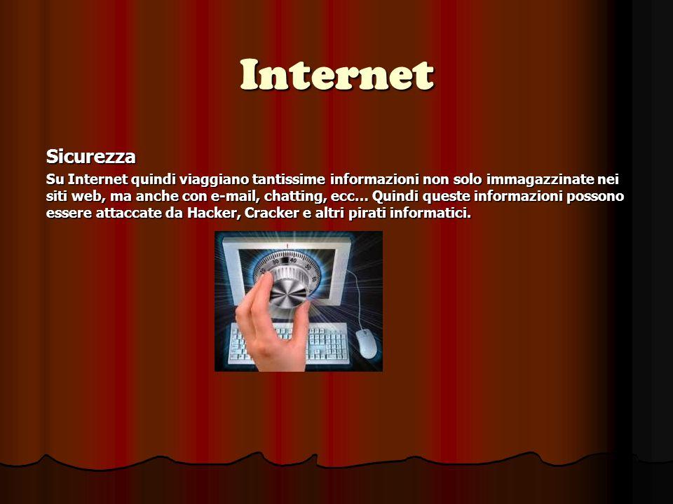 Internet Sicurezza Su Internet quindi viaggiano tantissime informazioni non solo immagazzinate nei siti web, ma anche con e-mail, chatting, ecc… Quindi queste informazioni possono essere attaccate da Hacker, Cracker e altri pirati informatici.