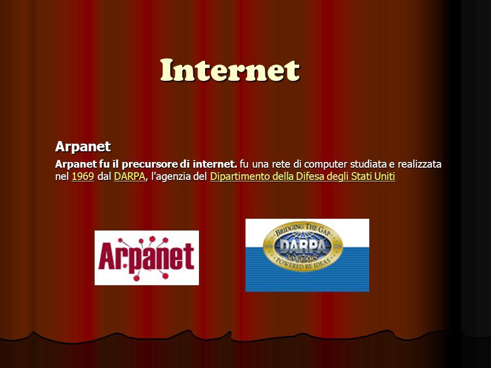 Internet Arpanet Arpanet fu il precursore di internet.