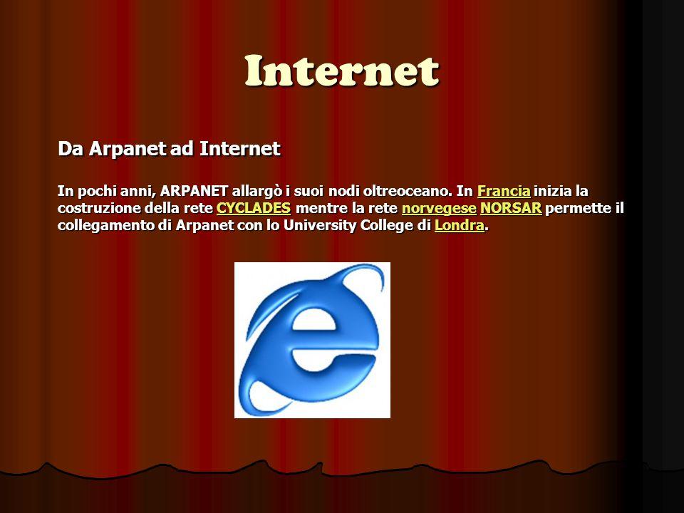 Internet Da Arpanet ad Internet In pochi anni, ARPANET allargò i suoi nodi oltreoceano.