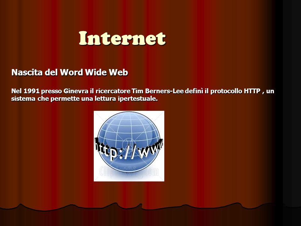 Internet Nascita del Word Wide Web Nel 1991 presso Ginevra il ricercatore Tim Berners-Lee definì il protocollo HTTP, un sistema che permette una lettura ipertestuale.