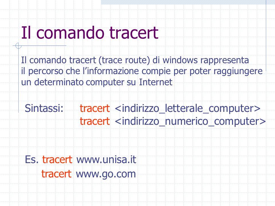 Il comando tracert Il comando tracert (trace route) di windows rappresenta il percorso che linformazione compie per poter raggiungere un determinato computer su Internet Sintassi:tracert tracert Es.