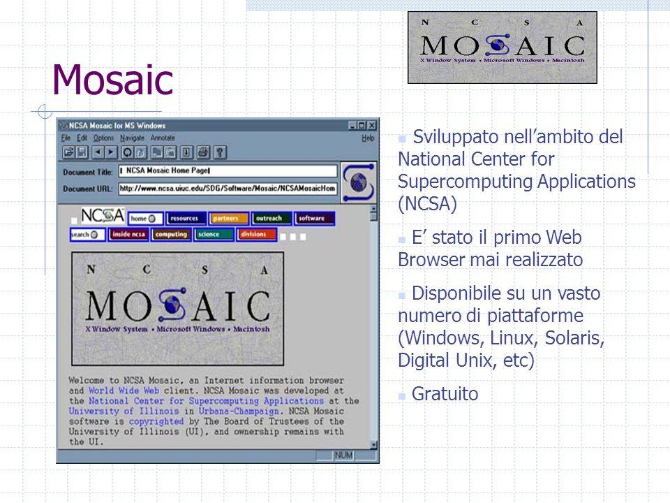 Mosaic Sviluppato nellambito del National Center for Supercomputing Applications (NCSA) E stato il primo Web Browser mai realizzato Disponibile su un