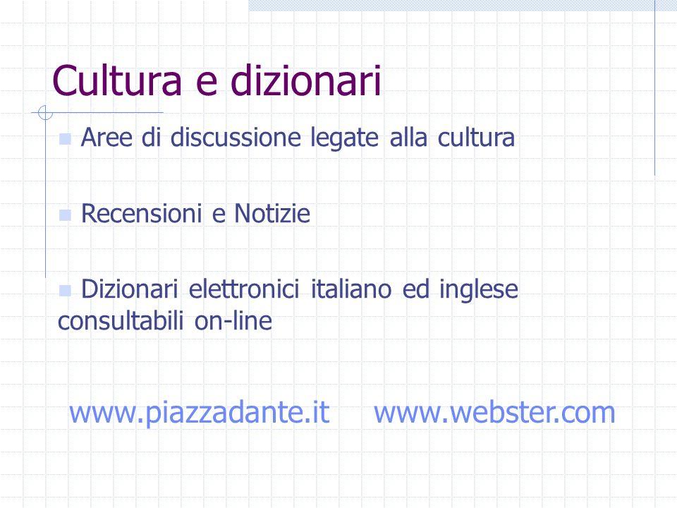 Cultura e dizionari Aree di discussione legate alla cultura Recensioni e Notizie Dizionari elettronici italiano ed inglese consultabili on-line www.piazzadante.itwww.webster.com