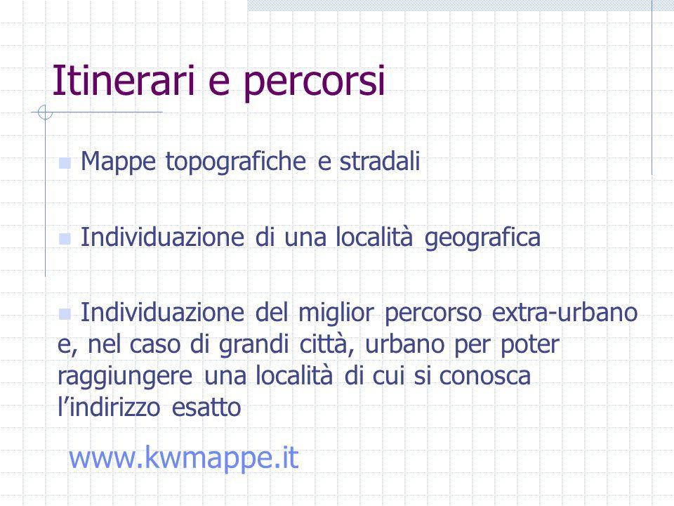 Mappe topografiche e stradali Individuazione di una località geografica Individuazione del miglior percorso extra-urbano e, nel caso di grandi città, urbano per poter raggiungere una località di cui si conosca lindirizzo esatto Itinerari e percorsi www.kwmappe.it