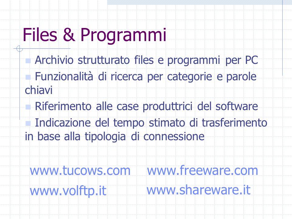 Archivio strutturato files e programmi per PC Funzionalità di ricerca per categorie e parole chiavi Riferimento alle case produttrici del software Ind