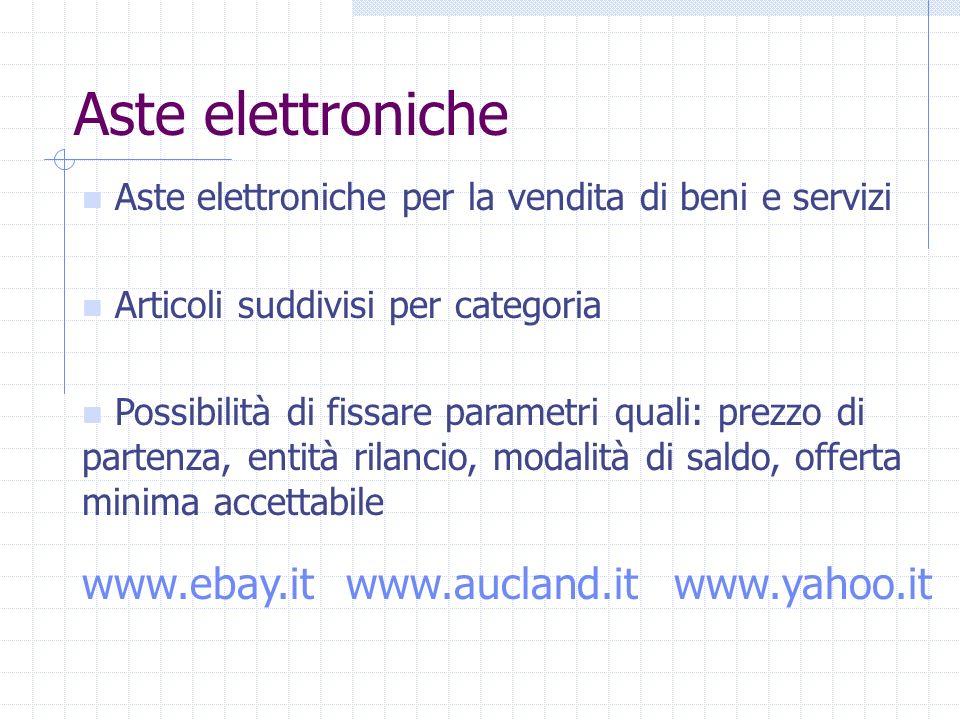 Aste elettroniche Aste elettroniche per la vendita di beni e servizi Articoli suddivisi per categoria Possibilità di fissare parametri quali: prezzo di partenza, entità rilancio, modalità di saldo, offerta minima accettabile www.ebay.itwww.aucland.itwww.yahoo.it