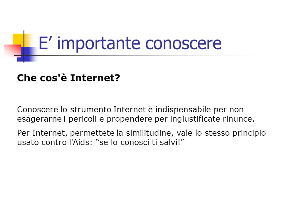 E importante conoscere Che cos'è Internet? Conoscere lo strumento Internet è indispensabile per non esagerarne i pericoli e propendere per ingiustific