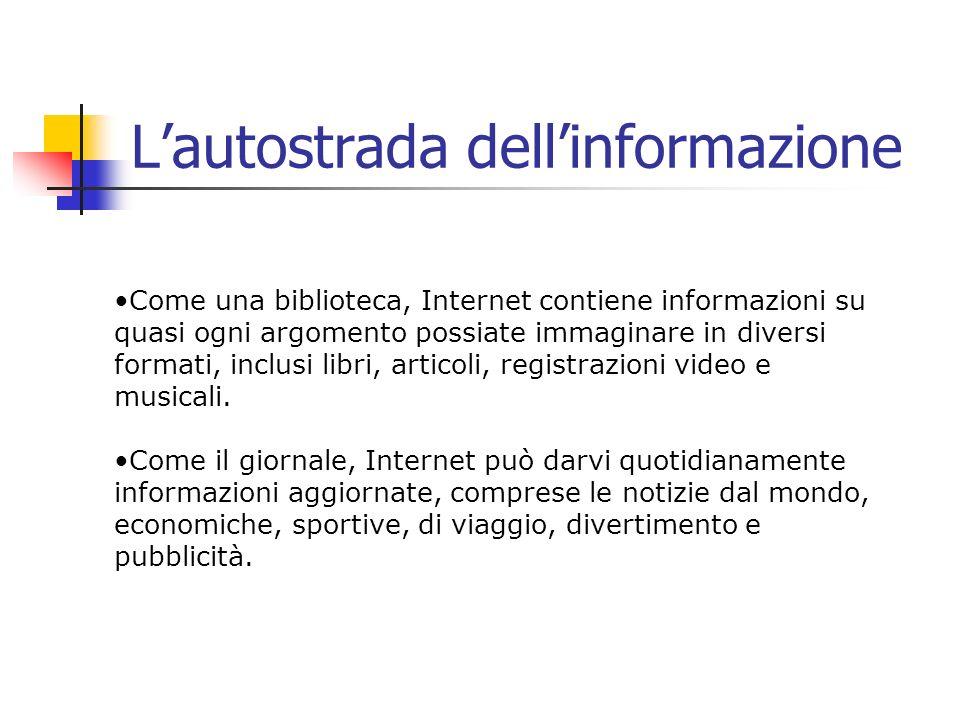 Lautostrada dellinformazione Come una biblioteca, Internet contiene informazioni su quasi ogni argomento possiate immaginare in diversi formati, inclu