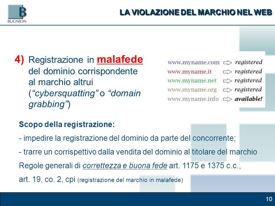 10 4) Registrazione in malafede del dominio corrispondente al marchio altrui (cybersquatting o domain grabbing) Scopo della registrazione: - impedire la registrazione del dominio da parte del concorrente; - trarre un corrispettivo dalla vendita del dominio al titolare del marchio Regole generali di correttezza e buona fede art.