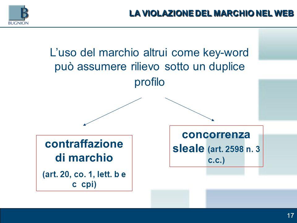 17 Luso del marchio altrui come key-word può assumere rilievo sotto un duplice profilo contraffazione di marchio (art.