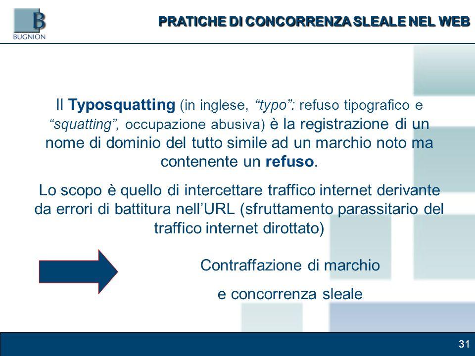 31 Il Typosquatting (in inglese, typo: refuso tipografico e squatting, occupazione abusiva) è la registrazione di un nome di dominio del tutto simile ad un marchio noto ma contenente un refuso.