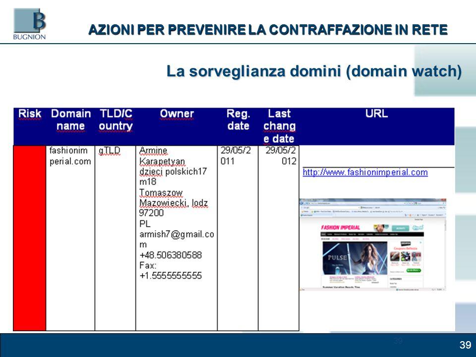 39 AZIONI PER PREVENIRE LA CONTRAFFAZIONE IN RETE La sorveglianza domini (domain watch)
