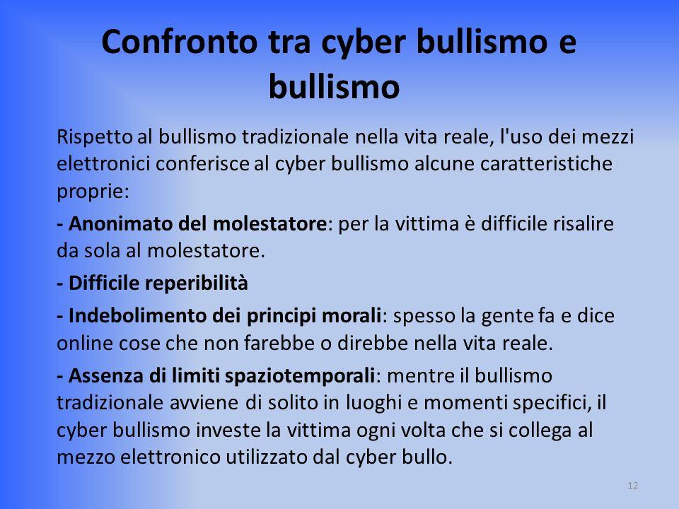 Confronto tra cyber bullismo e bullismo Rispetto al bullismo tradizionale nella vita reale, l'uso dei mezzi elettronici conferisce al cyber bullismo a