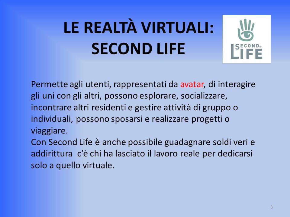 LE REALTÀ VIRTUALI: SECOND LIFE Permette agli utenti, rappresentati da avatar, di interagire gli uni con gli altri, possono esplorare, socializzare, i