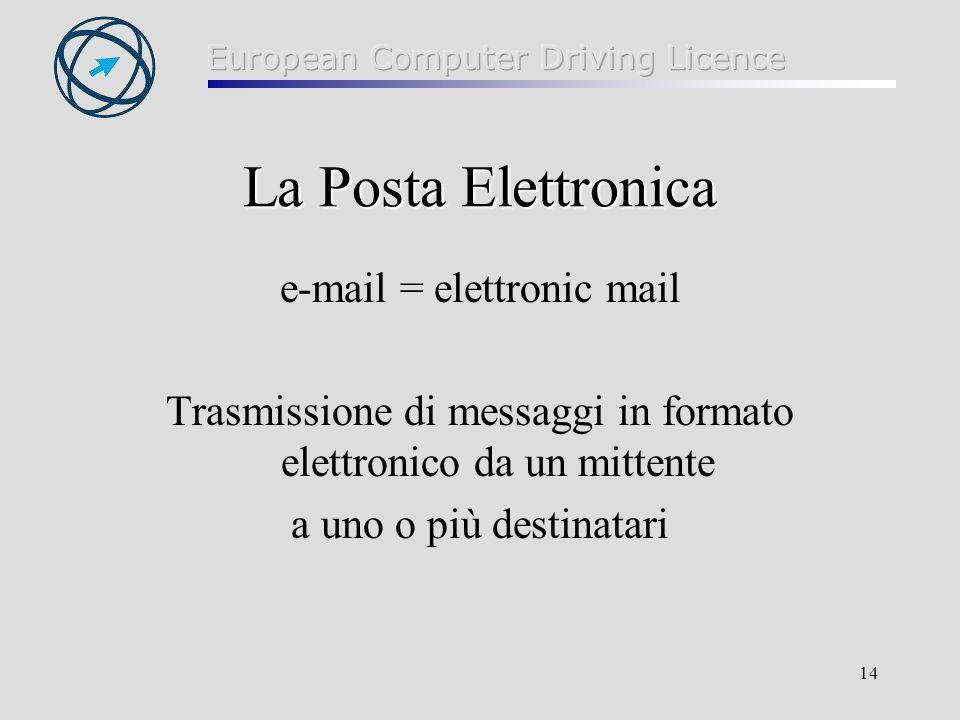 14 La Posta Elettronica e-mail = elettronic mail Trasmissione di messaggi in formato elettronico da un mittente a uno o più destinatari