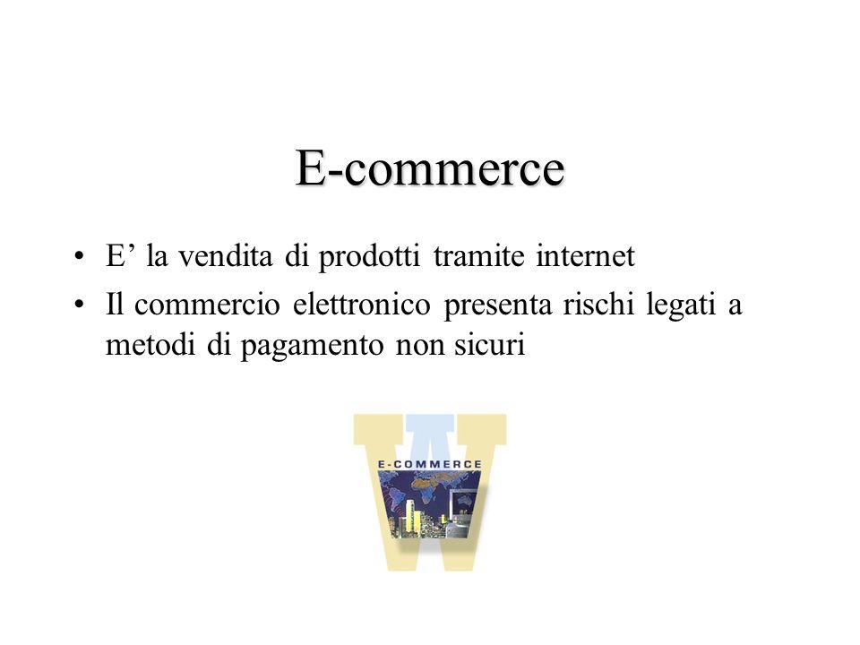 E-commerce E la vendita di prodotti tramite internet Il commercio elettronico presenta rischi legati a metodi di pagamento non sicuri