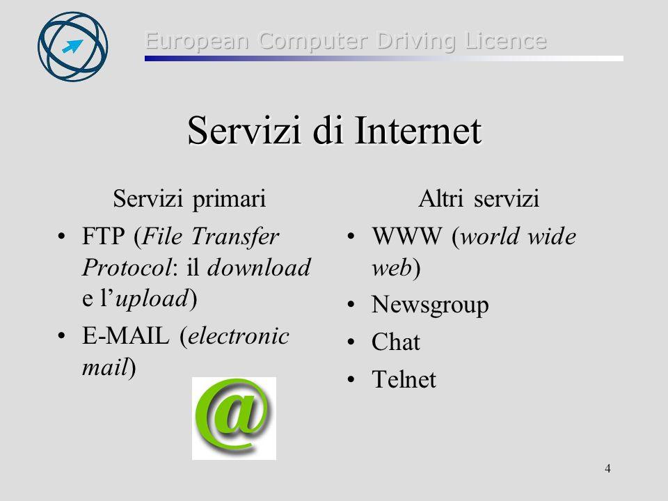 4 Servizi di Internet Servizi primari FTP (File Transfer Protocol: il download e lupload) E-MAIL (electronic mail) Altri servizi WWW (world wide web)