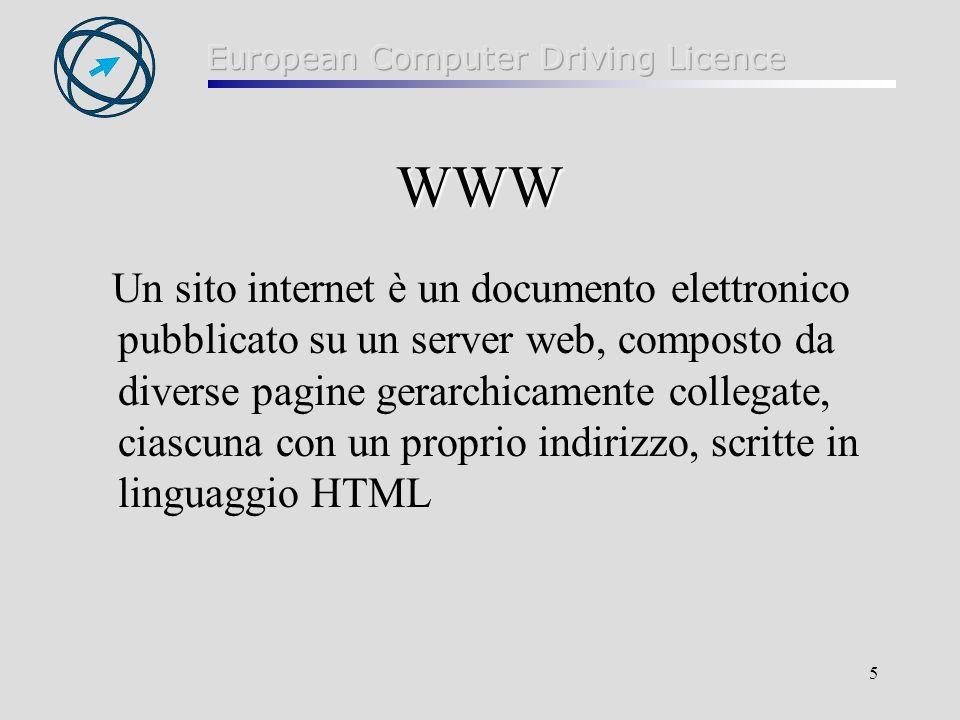 5 WWW Un sito internet è un documento elettronico pubblicato su un server web, composto da diverse pagine gerarchicamente collegate, ciascuna con un p