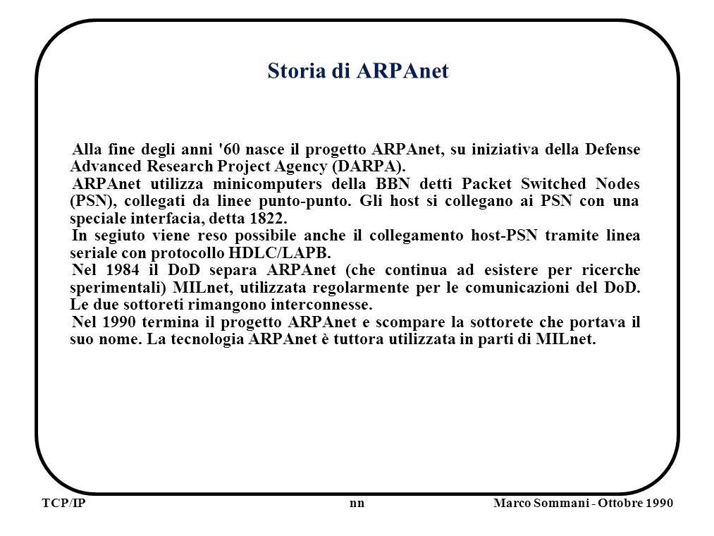 nnTCP/IPMarco Sommani - Ottobre 1990 Storia di ARPAnet Alla fine degli anni 60 nasce il progetto ARPAnet, su iniziativa della Defense Advanced Research Project Agency (DARPA).