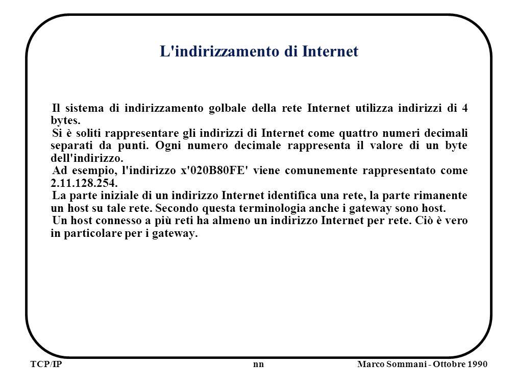 nnTCP/IPMarco Sommani - Ottobre 1990 L indirizzamento di Internet Il sistema di indirizzamento golbale della rete Internet utilizza indirizzi di 4 bytes.