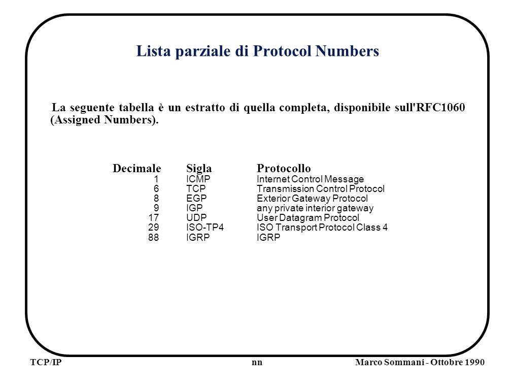 nnTCP/IPMarco Sommani - Ottobre 1990 Lista parziale di Protocol Numbers La seguente tabella è un estratto di quella completa, disponibile sull RFC1060 (Assigned Numbers).