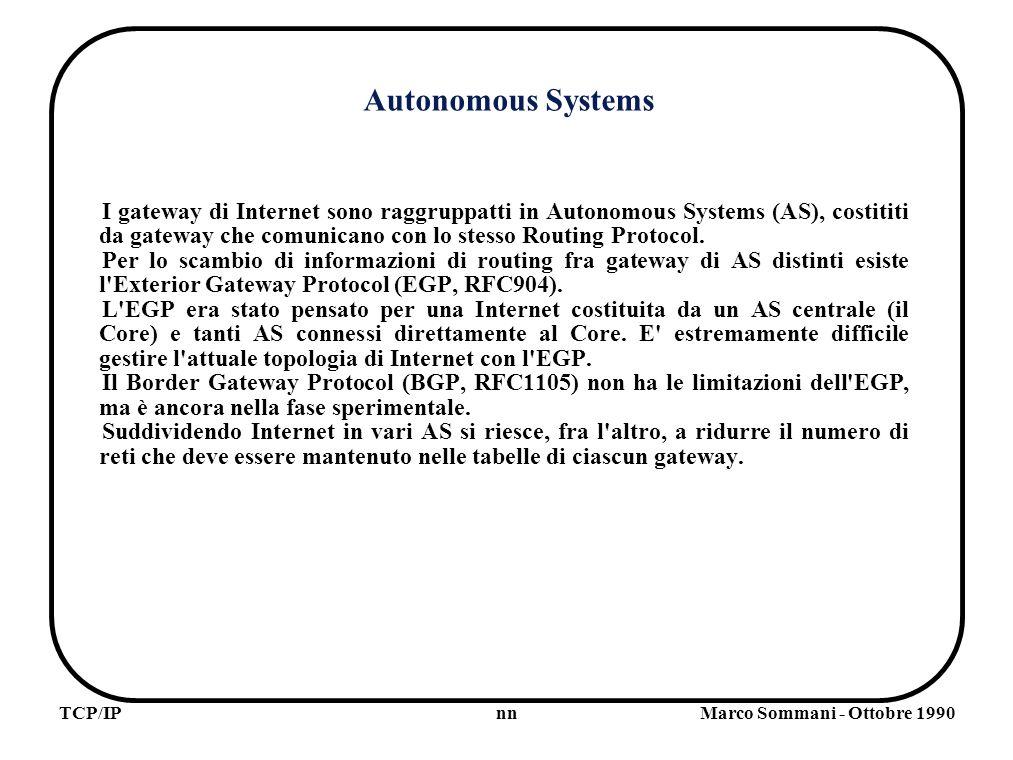 nnTCP/IPMarco Sommani - Ottobre 1990 Autonomous Systems I gateway di Internet sono raggruppatti in Autonomous Systems (AS), costititi da gateway che comunicano con lo stesso Routing Protocol.