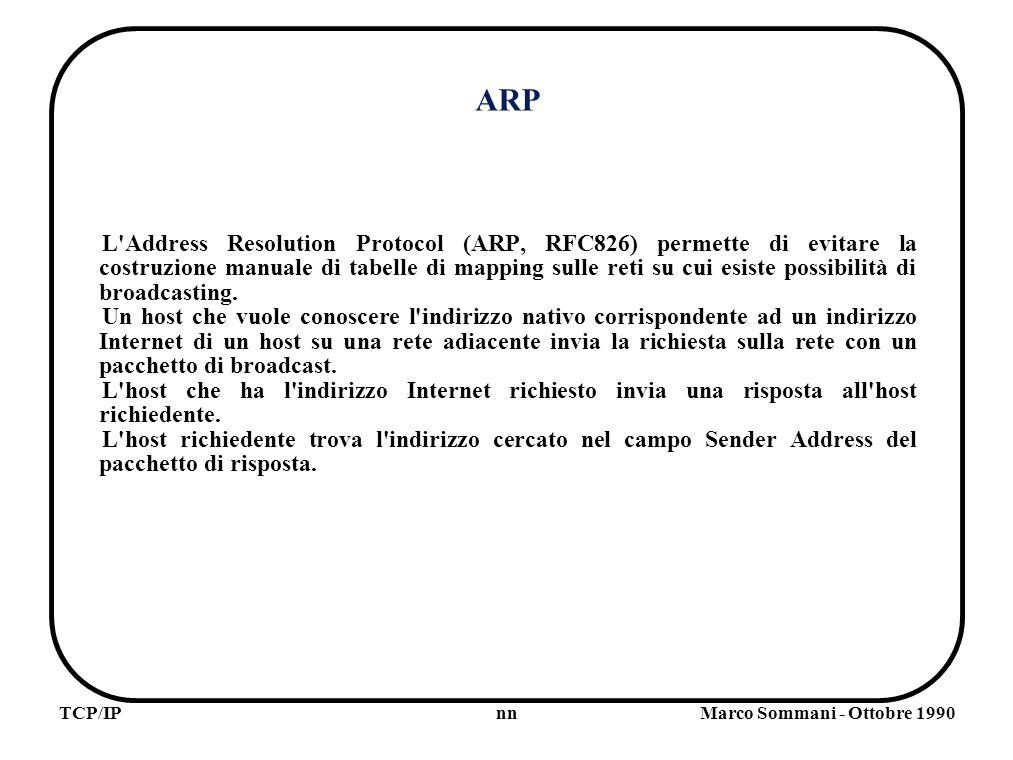 nnTCP/IPMarco Sommani - Ottobre 1990 ARP L Address Resolution Protocol (ARP, RFC826) permette di evitare la costruzione manuale di tabelle di mapping sulle reti su cui esiste possibilità di broadcasting.