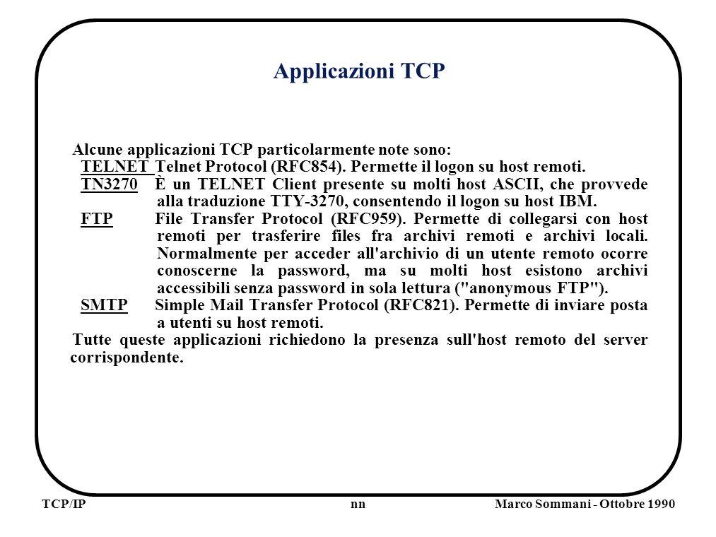 nnTCP/IPMarco Sommani - Ottobre 1990 Applicazioni TCP Alcune applicazioni TCP particolarmente note sono: TELNETTelnet Protocol (RFC854).