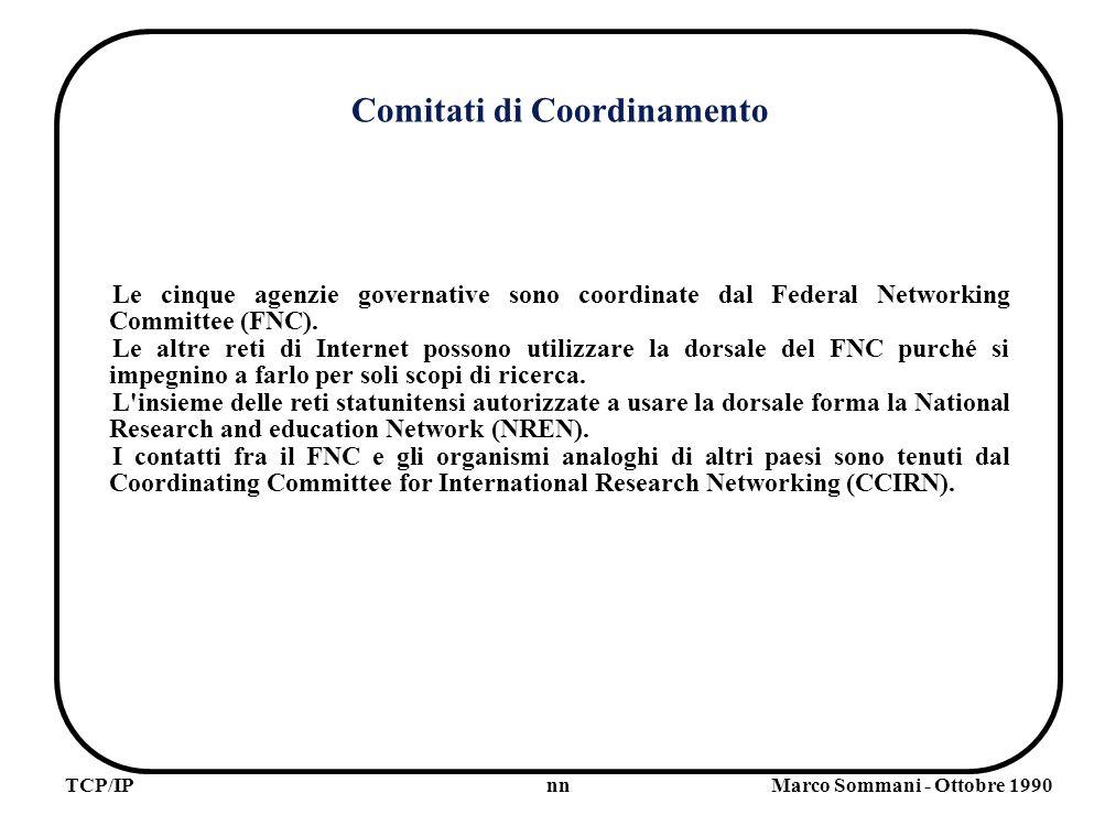 nnTCP/IPMarco Sommani - Ottobre 1990 UDP Alcune applicazioni particolari (es.: la consultazione del directory) possono funzoinare con un servizio di tipo datagram, senza l overhead introdotto dal TCP per garantire l affidabilità di un servizio Connection Oriented.