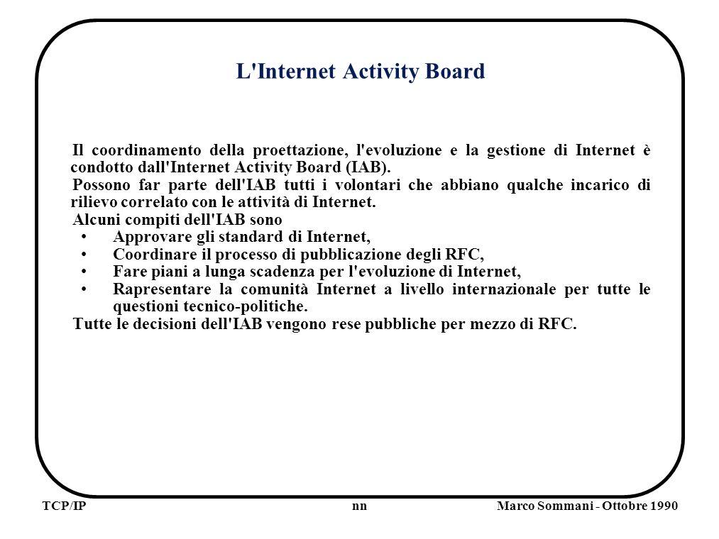 nnTCP/IPMarco Sommani - Ottobre 1990 L Internet Activity Board Il coordinamento della proettazione, l evoluzione e la gestione di Internet è condotto dall Internet Activity Board (IAB).