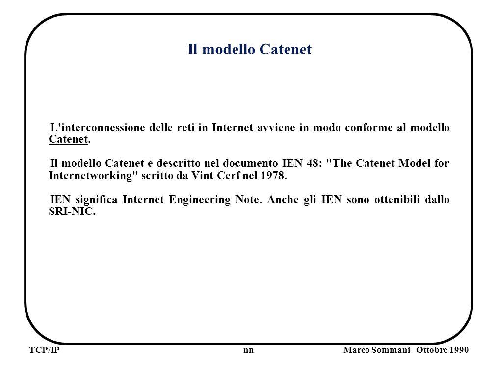 nnTCP/IPMarco Sommani - Ottobre 1990 Name Resolver Un programma che deve tradurre un nome simbolico in indirizzo di Internet ricorre al Name Resolver locale.