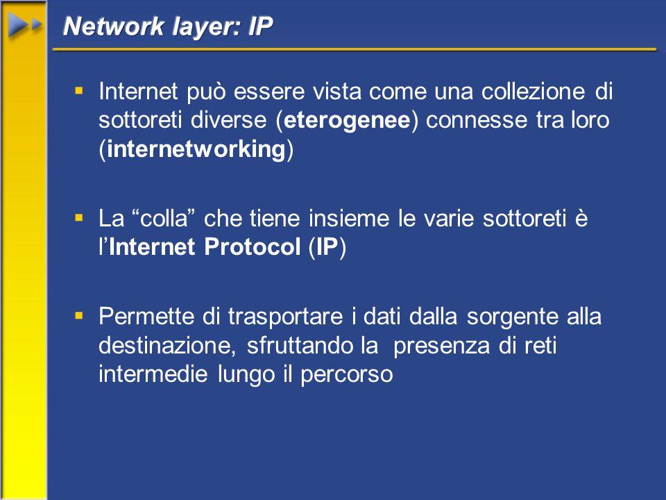 Internet può essere vista come una collezione di sottoreti diverse (eterogenee) connesse tra loro (internetworking) La colla che tiene insieme le vari