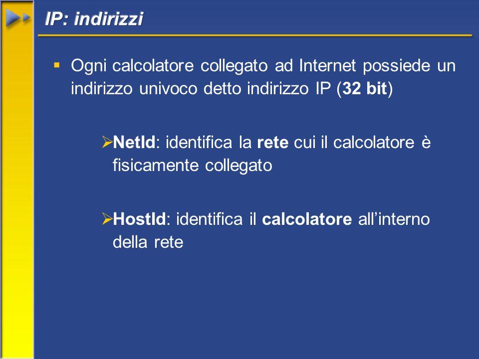 Ogni calcolatore collegato ad Internet possiede un indirizzo univoco detto indirizzo IP (32 bit) NetId: identifica la rete cui il calcolatore è fisicamente collegato HostId: identifica il calcolatore allinterno della rete