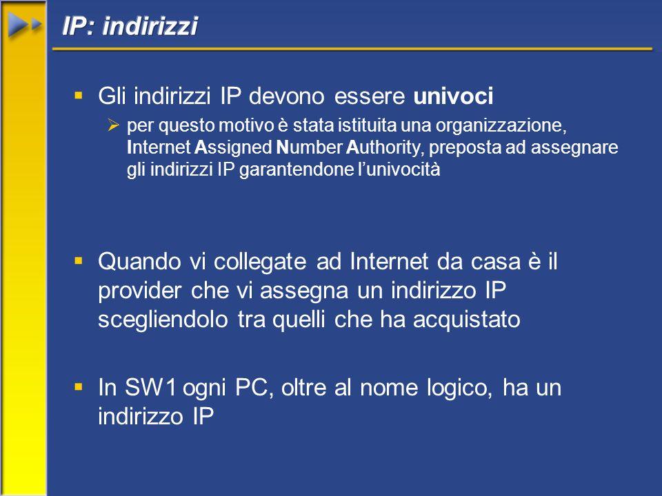 Gli indirizzi IP devono essere univoci per questo motivo è stata istituita una organizzazione, Internet Assigned Number Authority, preposta ad assegna
