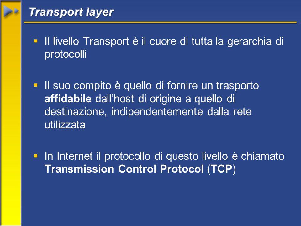 Il livello Transport è il cuore di tutta la gerarchia di protocolli Il suo compito è quello di fornire un trasporto affidabile dallhost di origine a quello di destinazione, indipendentemente dalla rete utilizzata In Internet il protocollo di questo livello è chiamato Transmission Control Protocol (TCP)