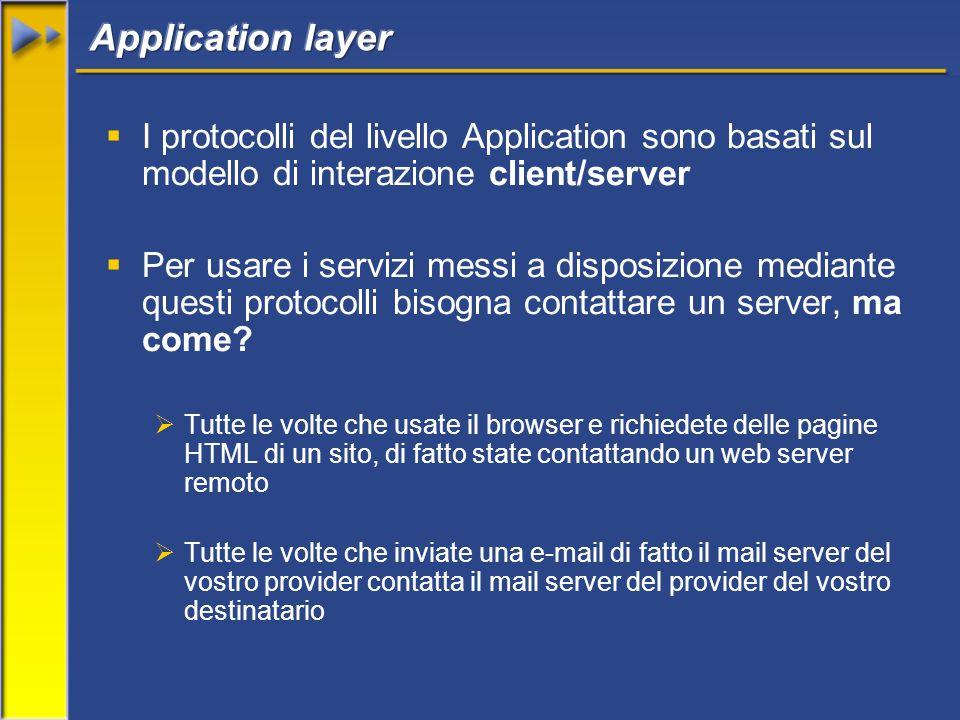 I protocolli del livello Application sono basati sul modello di interazione client/server Per usare i servizi messi a disposizione mediante questi protocolli bisogna contattare un server, ma come.