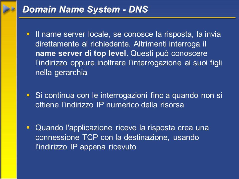 Il name server locale, se conosce la risposta, la invia direttamente al richiedente.