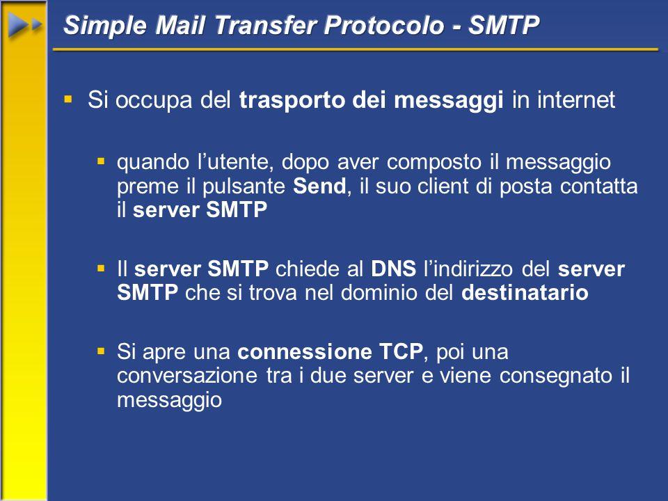 Si occupa del trasporto dei messaggi in internet quando lutente, dopo aver composto il messaggio preme il pulsante Send, il suo client di posta contatta il server SMTP Il server SMTP chiede al DNS lindirizzo del server SMTP che si trova nel dominio del destinatario Si apre una connessione TCP, poi una conversazione tra i due server e viene consegnato il messaggio