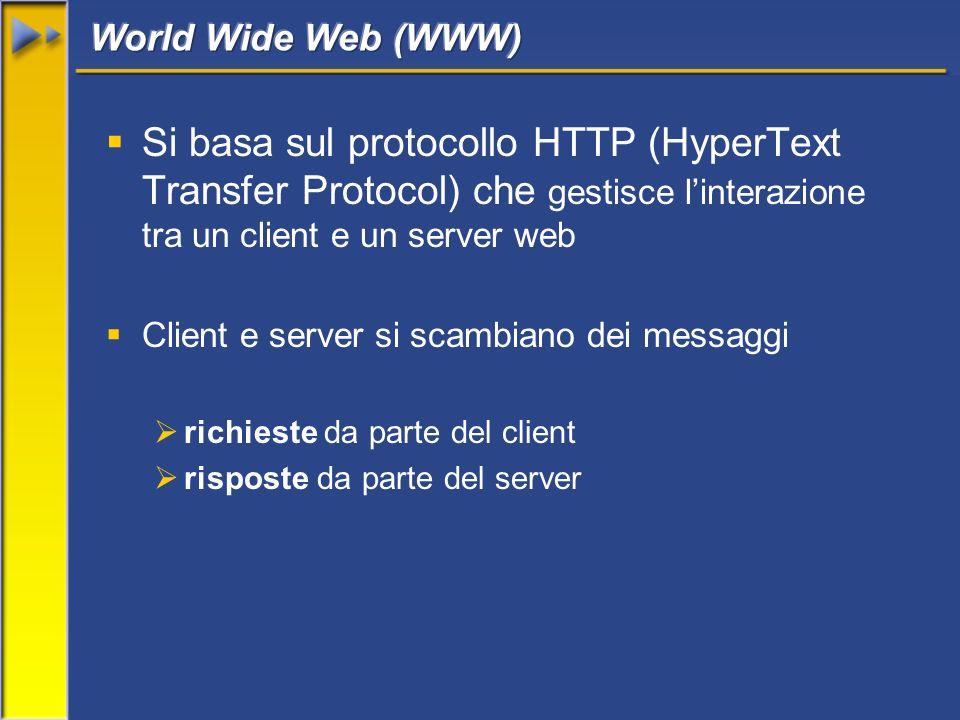 Si basa sul protocollo HTTP (HyperText Transfer Protocol) che gestisce linterazione tra un client e un server web Client e server si scambiano dei messaggi richieste da parte del client risposte da parte del server
