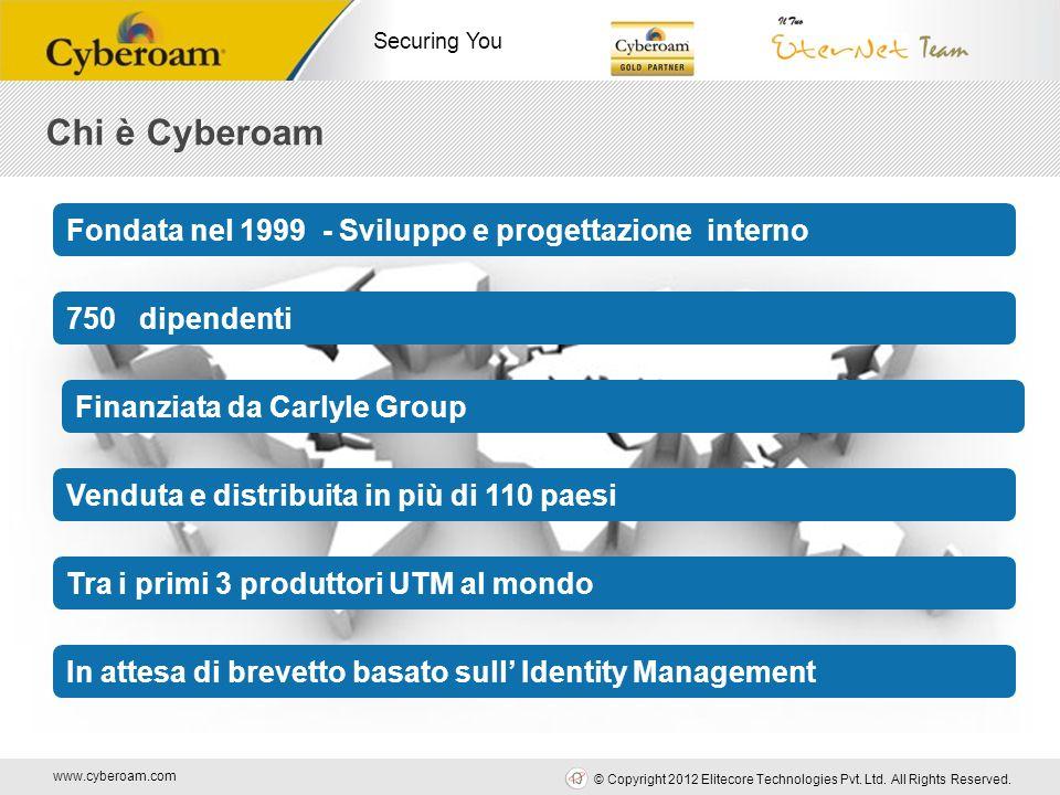 www.cyberoam.com © Copyright 2012 Elitecore Technologies Pvt. Ltd. All Rights Reserved. Securing You Chi è Cyberoam Venduta e distribuita in più di 11