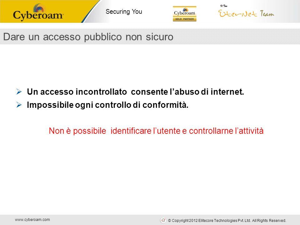 www.cyberoam.com © Copyright 2012 Elitecore Technologies Pvt. Ltd. All Rights Reserved. Securing You Dare un accesso pubblico non sicuro Un accesso in